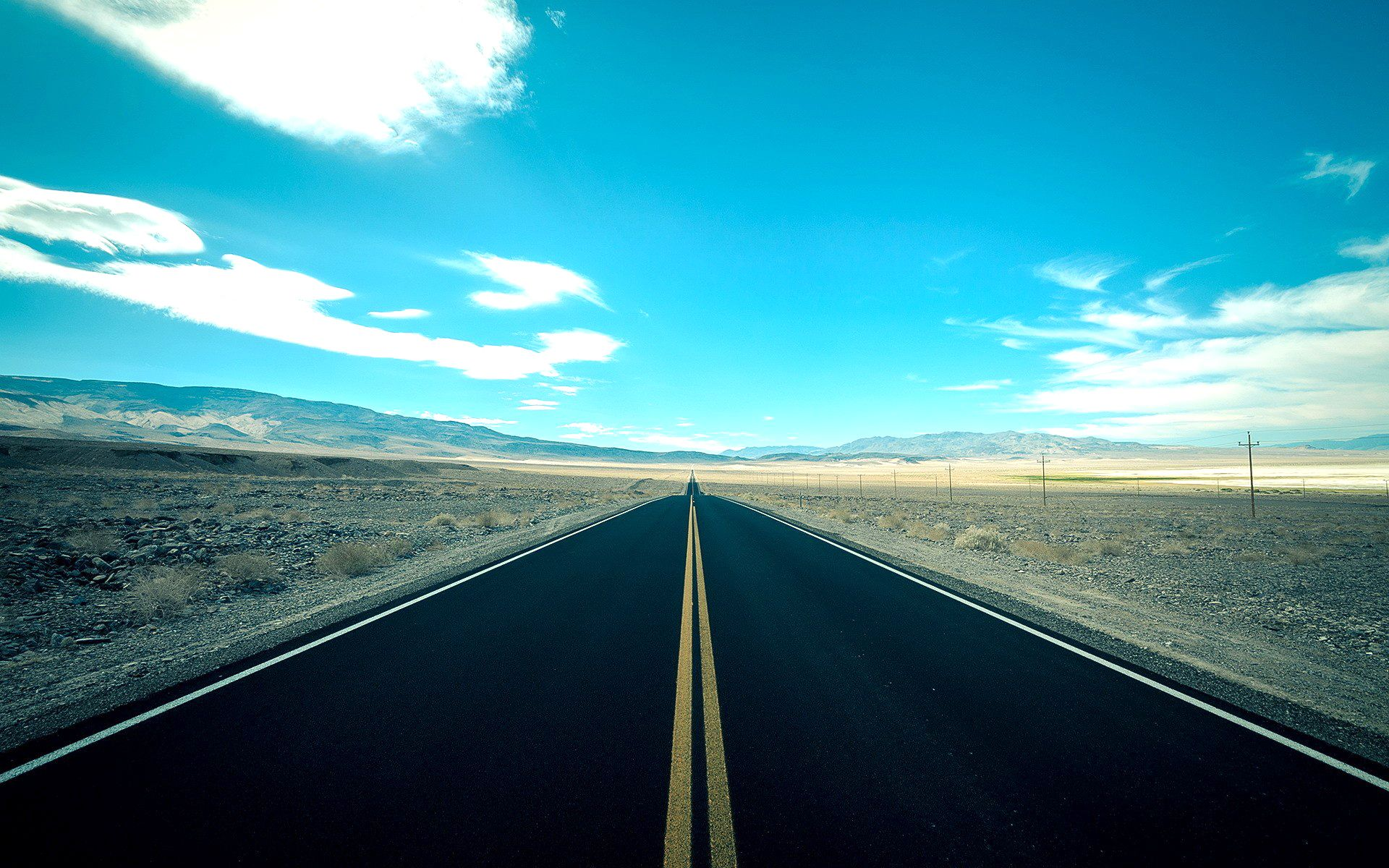 Road In The Middle Of Nowhere Sky Landscape Photo Hd Wallpaper