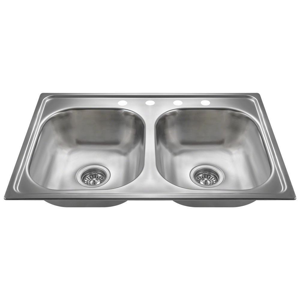 Drop In Stainless Steel 33 In 4 Hole Double Bowl Kitchen Sink