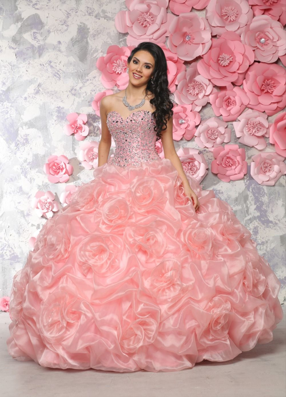 Cheap Vestidos De 15 Anos Sweetheart Beaded Puffy Coral Pink Gowns ...