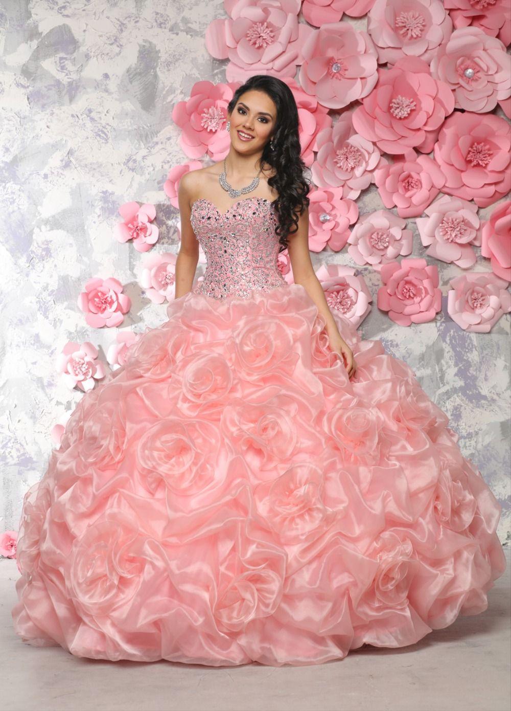 Cheap Vestidos De 15 Anos Sweetheart Beaded Puffy Coral Pink Gowns vestidos  de quinceanera Debutante Fowns
