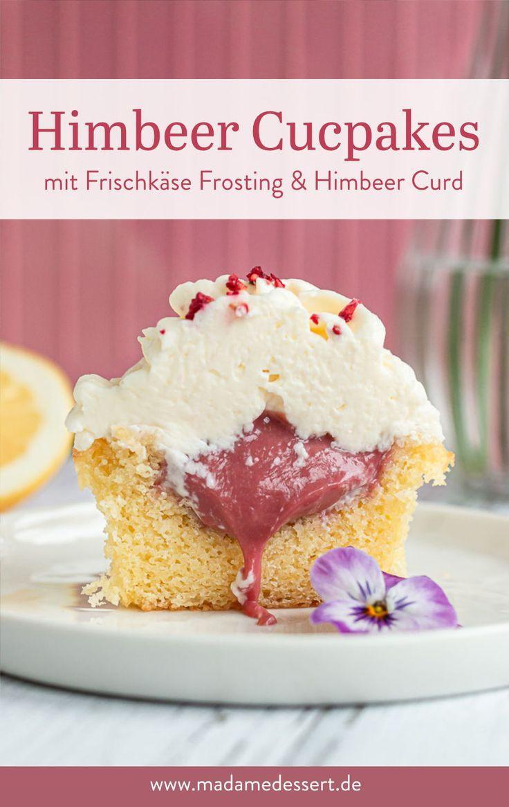 Himbeer Cupcakes mit Frischkäse Frosting & HImbeer Curd