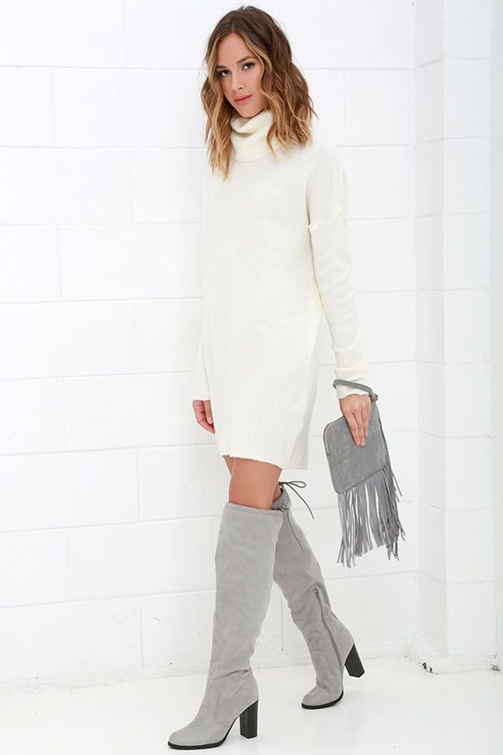 Flash A Smile Cream Turtleneck Sweater Dress Clotheslooks