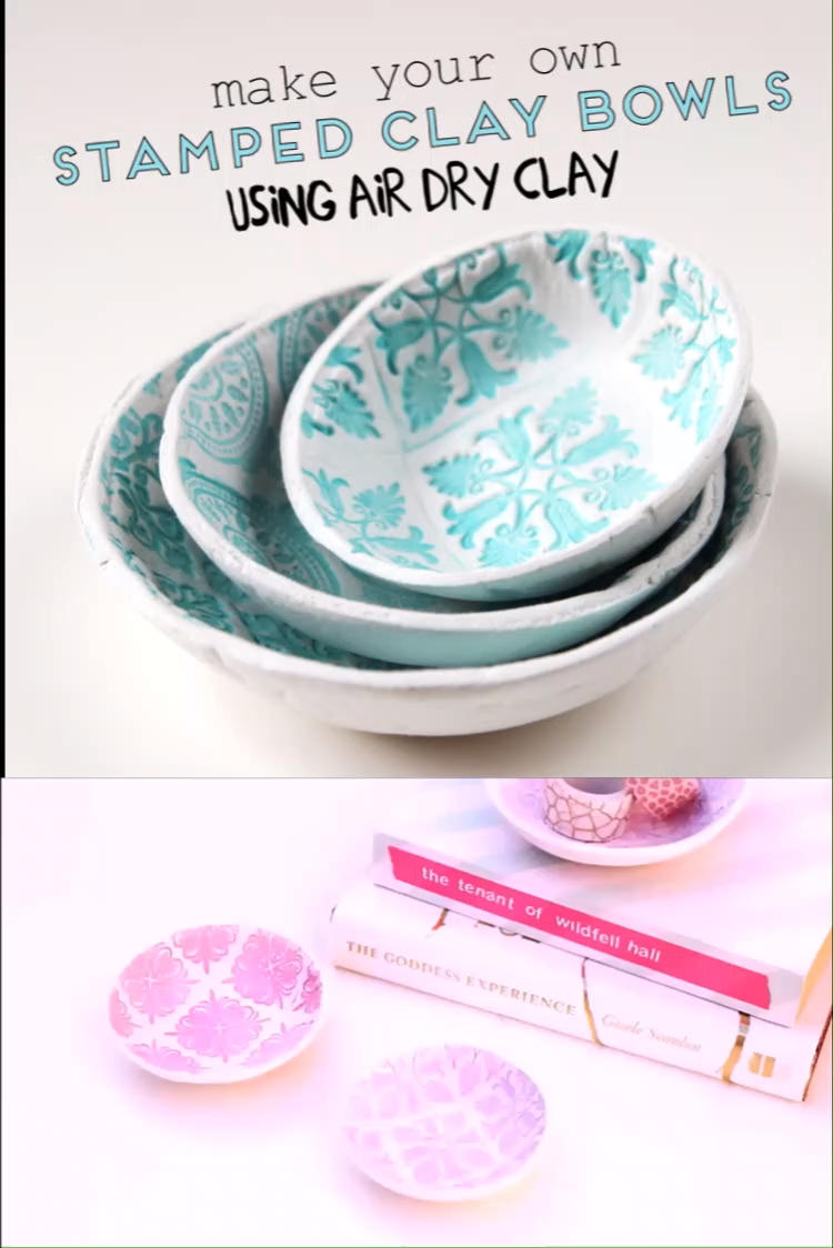 Photo of MAKE YOUR OWN DIY STAMPED CLAY BOWLS USING AIR DRY CLAY