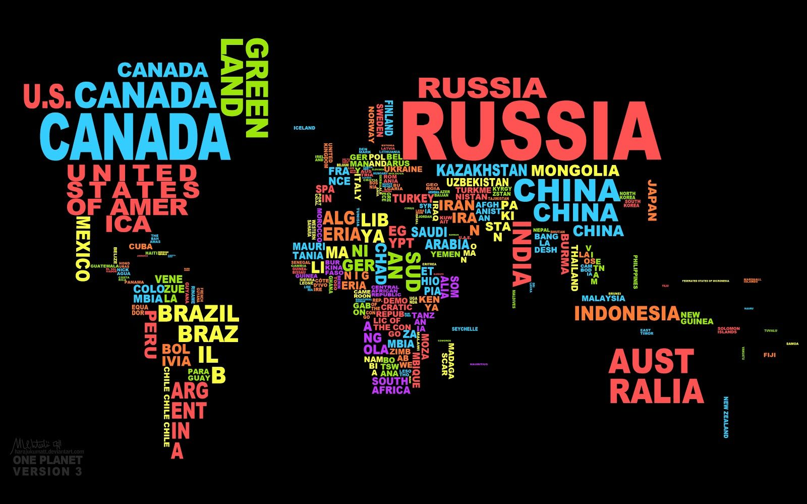Wallpaper For World Map Using Country Name On Badooy Wallpapers - World map with names
