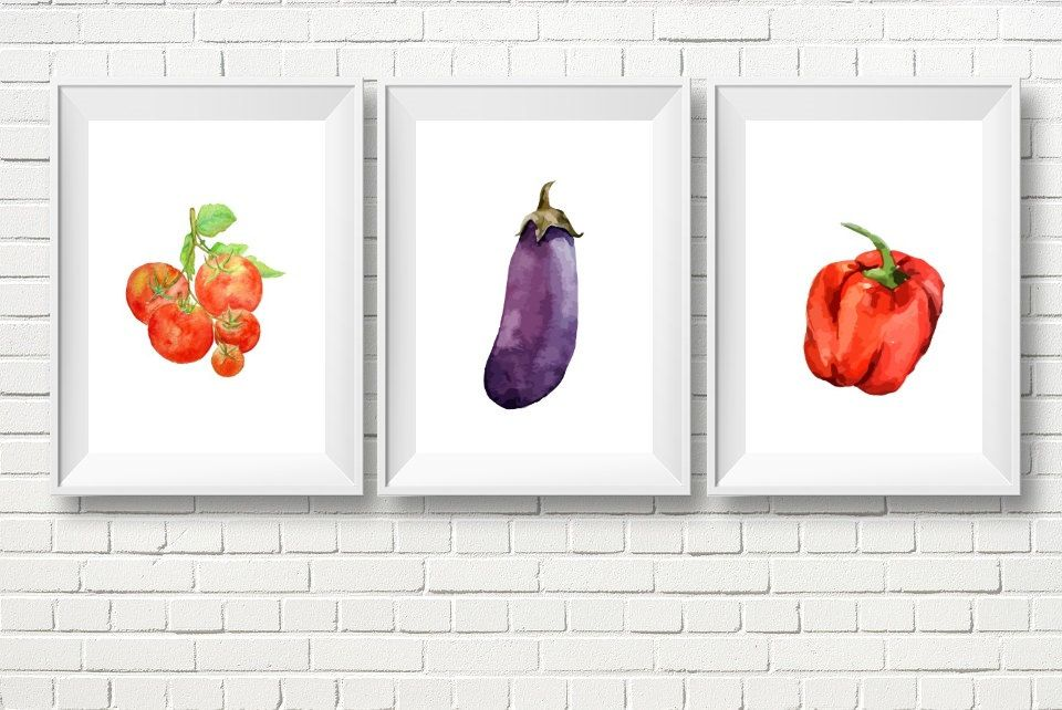 Veggie Wall Decor Kitchen Art Printable Veggies Food FoodDining Room