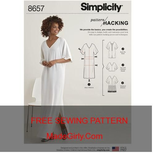 19c34aae07 FREE Simplicity Pattern 8657 Misses' Caftan with Options for Design Hacking
