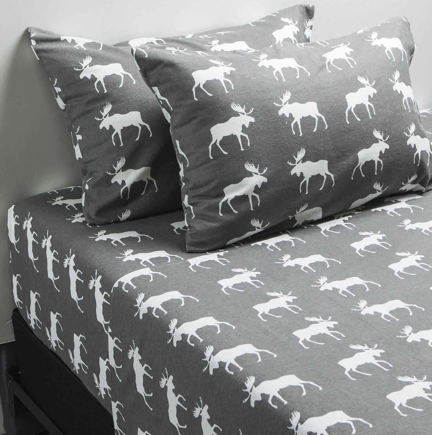 PRINTED FLANNEL Sheet Set Grey Moose Sheets Bedding