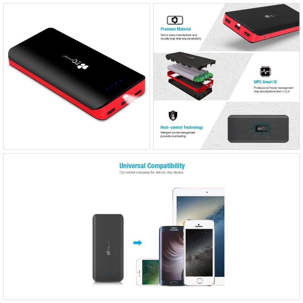 Details About Portable Charger 22400mah Power Bank Ultra High External Battery Control Capacity With A