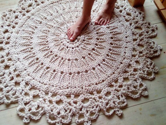 Knitted Rope Giant Doily Rug With Crochet Edge 100 Cotton 40 Round Bedroom Rug Bath Rug Patio Rug Weding Rug Kids Room Rug Doily Rug Rugs Patio Rugs