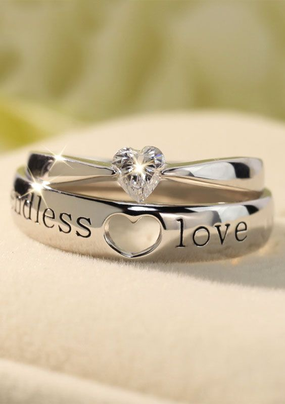 Endless Love Heart Rings Set For S Silver Promise Diamond Engraved