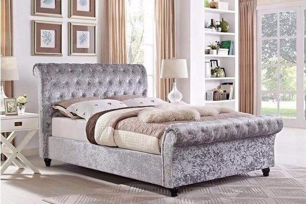 Best Chesterfield Crushed Velvet Sleigh Designer Double Bed 400 x 300