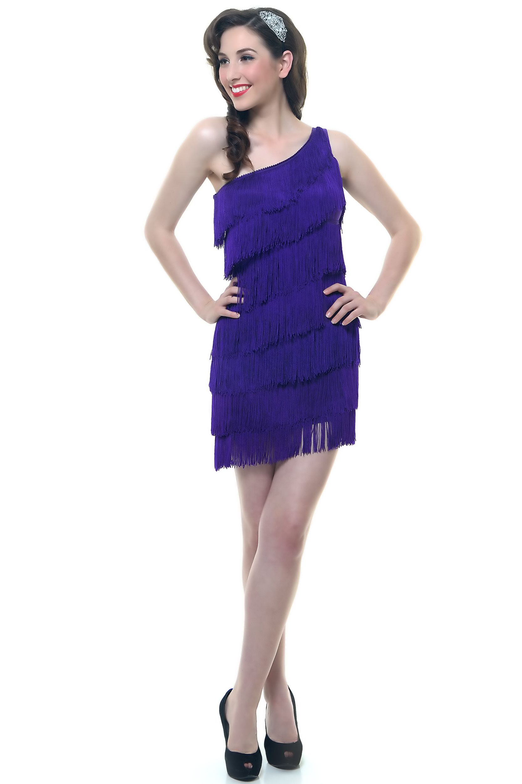 Purple One Shoulder 1920\'s Style Fringe Flapper Dress - Unique ...