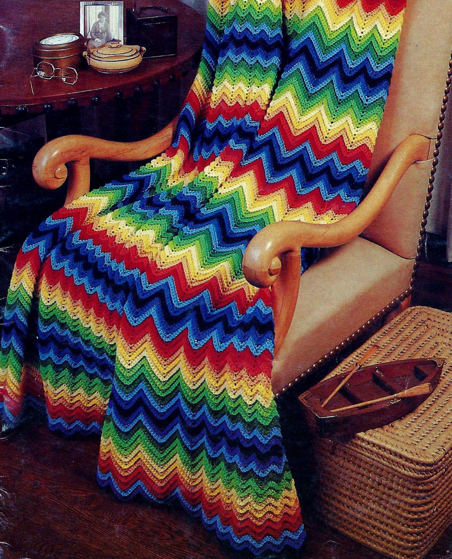 Jewel Tone Classic Chevron Afghan Vintage Crochet Pattern Download ...