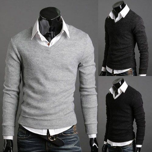 Fashionable Thicken V-Neck Solid Color Knitting Sweater For Men