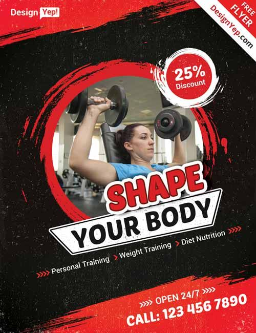 Fitness Gym Free Flyer PSD Template -   freepsdflyer - Fitness Templates Free