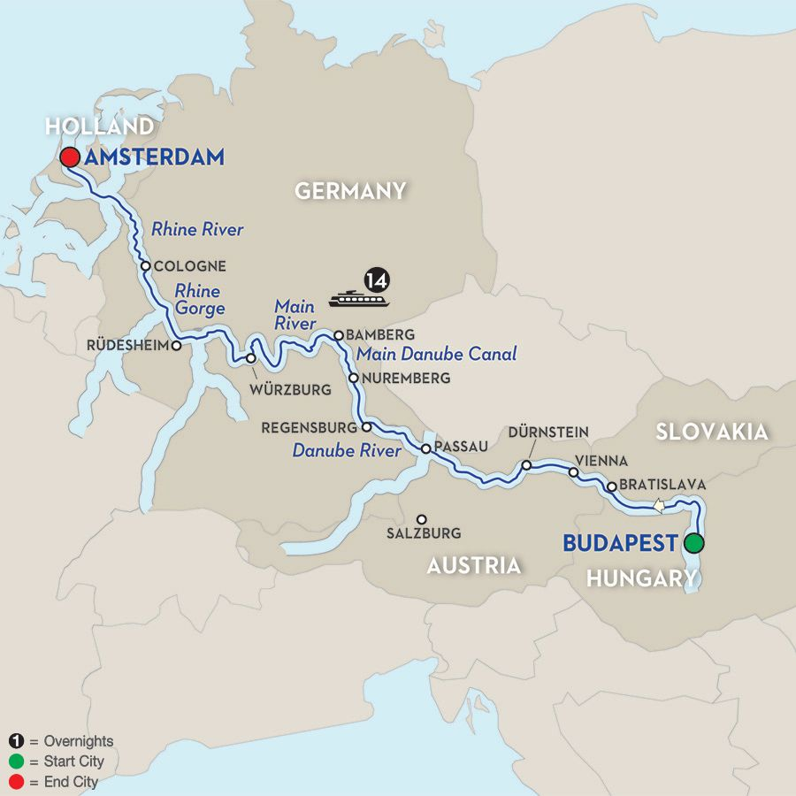 budapest to amsterdam river cruise map Magnificent Europe Westbound Danube River Cruise European budapest to amsterdam river cruise map