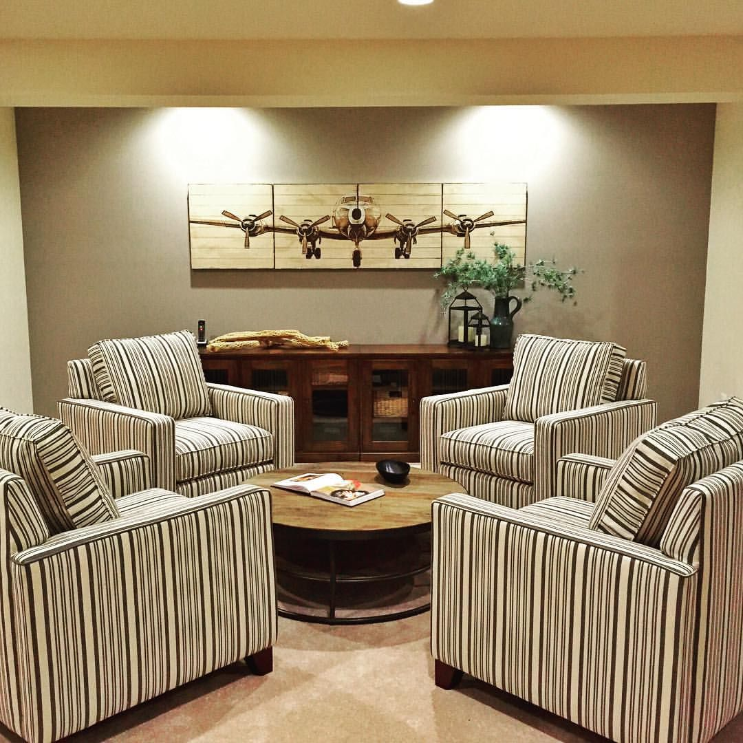 The Perfect Conversation Area By Pottery Barn Basement Basementdesign Airplane Seating Pb Potterybarn Lounge Basement Design Pottery Barn Seating
