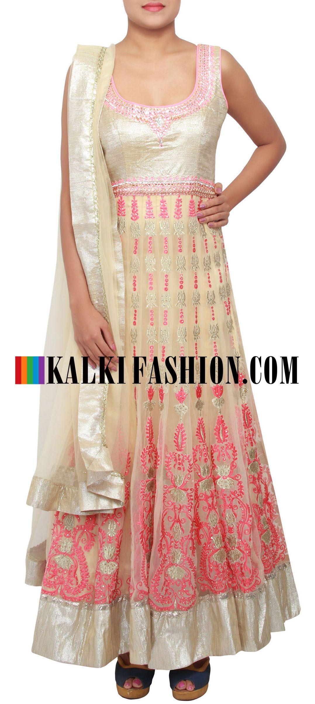 Get this beautiful salwar kameez here: http://www.kalkifashion.com/beige-anarkali-suit-embellished-in-resham-and-zari-only-on-kalki.html Free shipping worldwide.