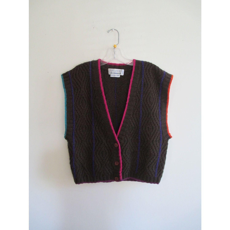 Vintage Colours by Alexander Julian Colorful Rainbow Hand Knit Preppy Sweater Vest Sz M/L