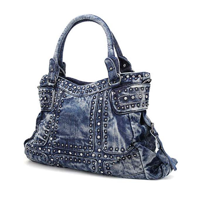 Denim Women/'s Shoulder Bags Fashion Rivets Women Purse Jeans Totes Lady Handbag