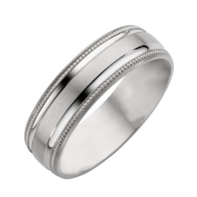 9ct White Gold Matt Polished Wedding Ring H Samuel The Jeweller