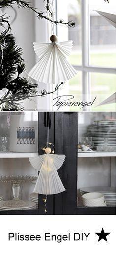 DIY wie du diese zauberhaften Plissee Engel selber machen kannst zeige ich dir auf meinem Blog. #weihnachten #engel #weihnachtsdekohauseingang