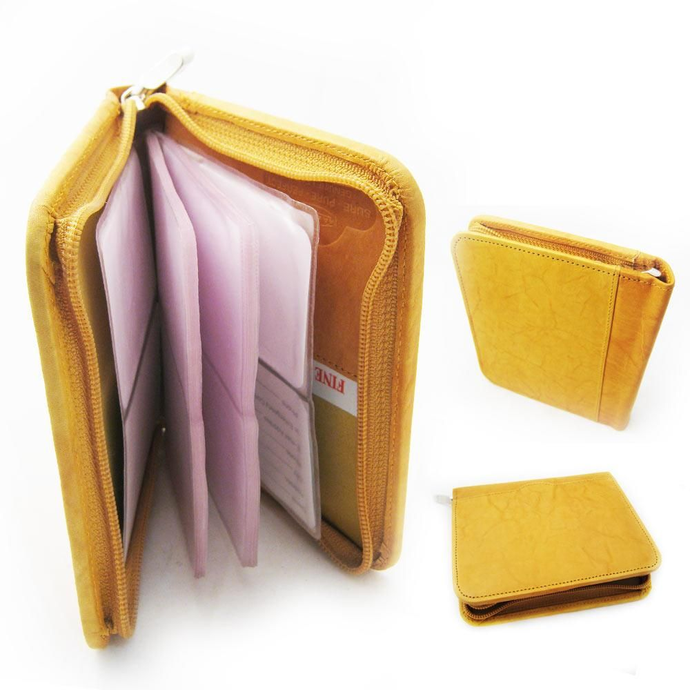 Genuine Leather Business Card Holder 40 Cards Organizer Book ID\'s ...