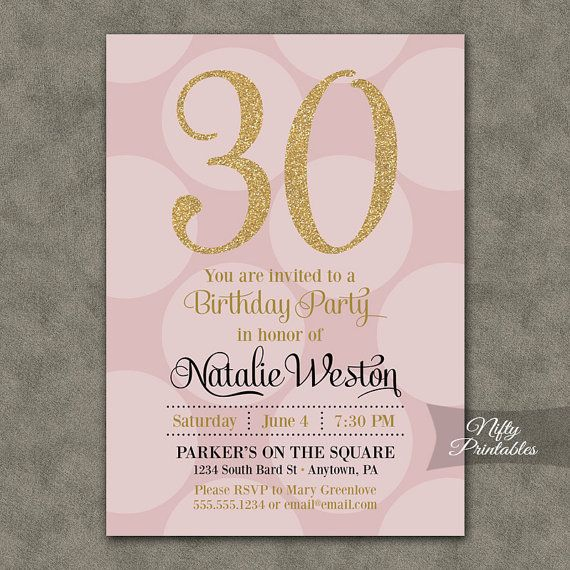 30th Birthday Invitations Pink Gold By NiftyPrintables On Etsy 1500