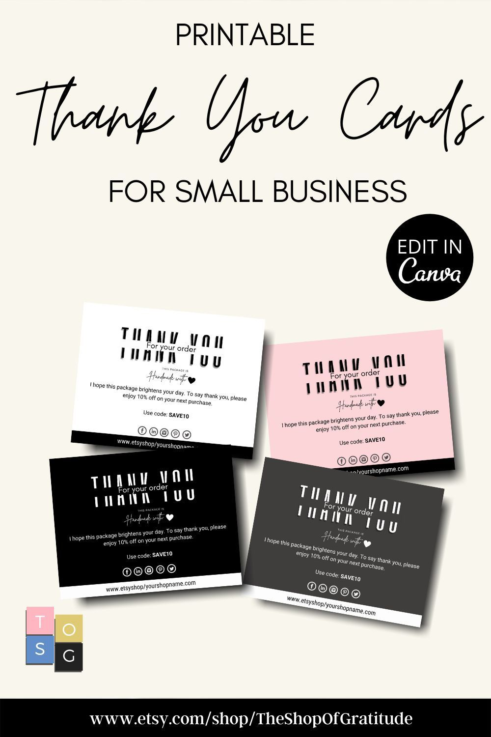 thank you cards template small business thank you cards