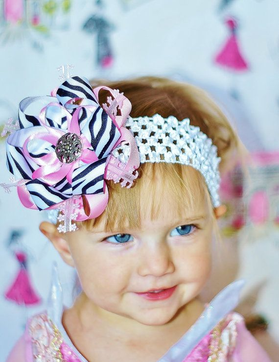 Items similar to baby girl hair bow... infant ribbon flower Clip ... infant headband. .. pretty hairbow for newborn, toddler and little girls...baby bow on Etsy