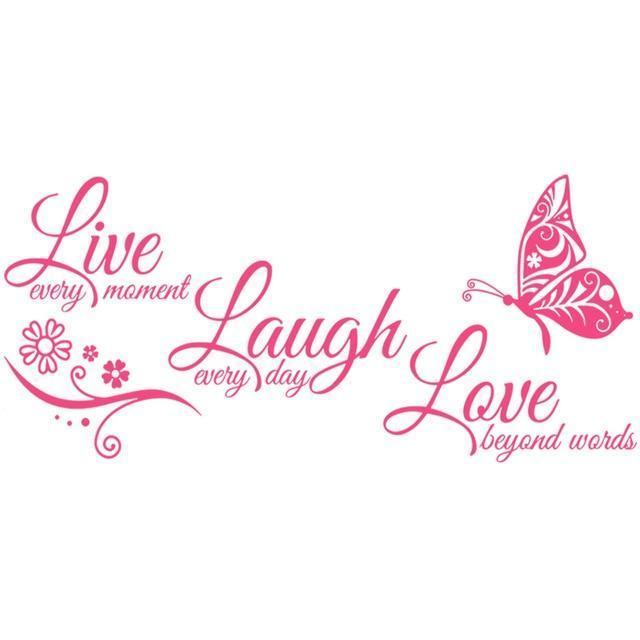 Live Laugh Love Butterfly Flower Wall Art Sticker
