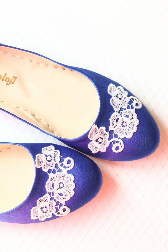 3e26f7f88b80 Wedding Flat Shoes Cobalt Blue Satin Bridal Ballet by demetoloji ...