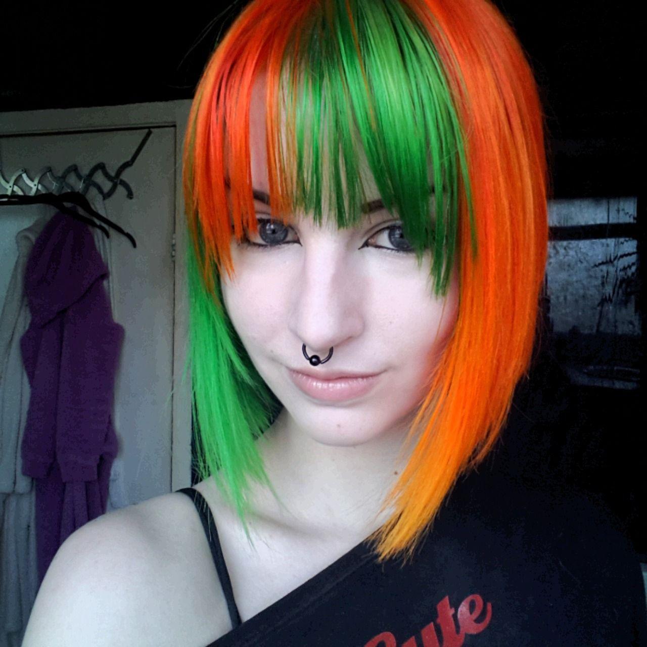 beautiful orange green hair colourful hair inspiration