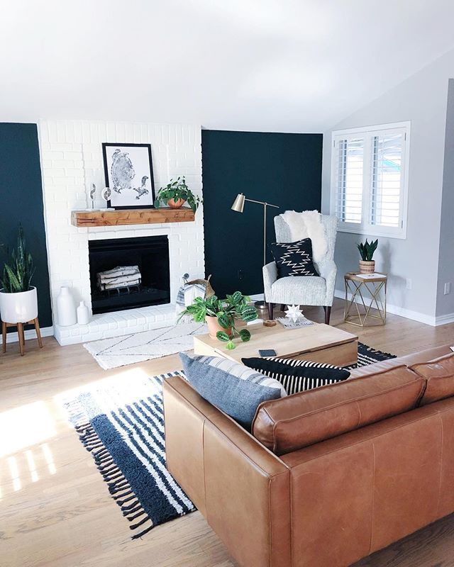 Gray With Blue Accent Wall Fireplace: Teal Walls And White Fireplace