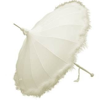 Ivory Pagoda Umbrella Trimmed with a Feather Fringe - Brolliesgalore
