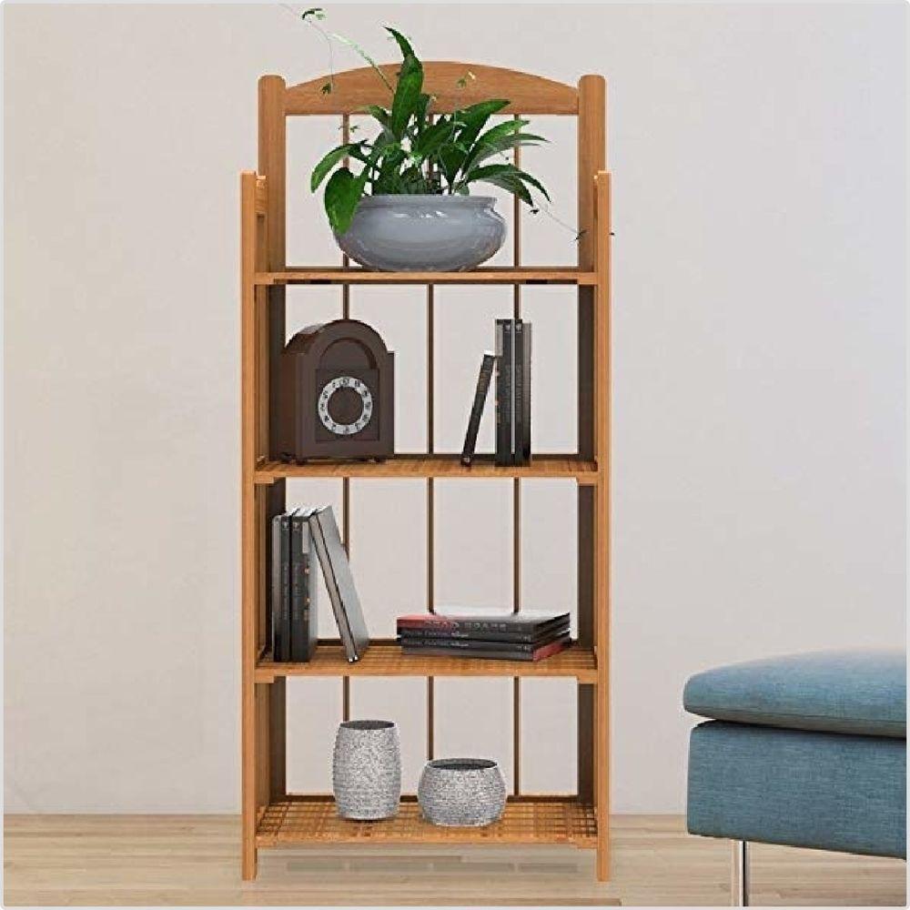 Wooden Book Shelf Foldable Home Shelving Bookcase Fir Light Wood 4