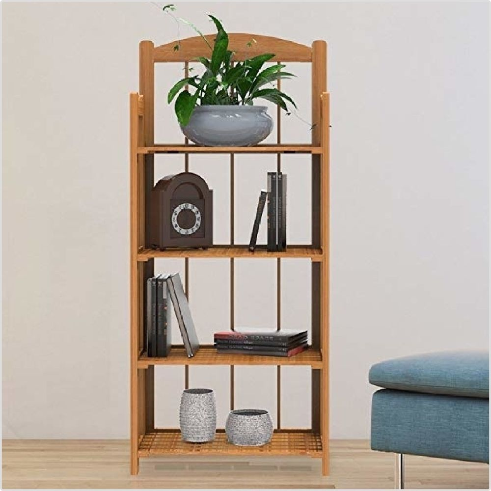 Wooden Book Shelf Foldable Home Shelving Bookcase Fir Light Wood 4 Tier Display Contemporary Bookcase Bookcase Shelves Home Decor