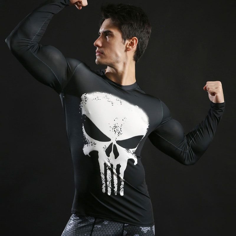 Mens Short Sleeve Dri-fit White Punisher Compression Shirt for Gym