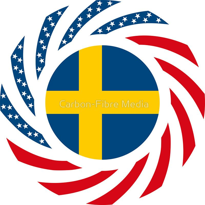 Swedish american multinational patriot flag series sticker by carbon fibre media