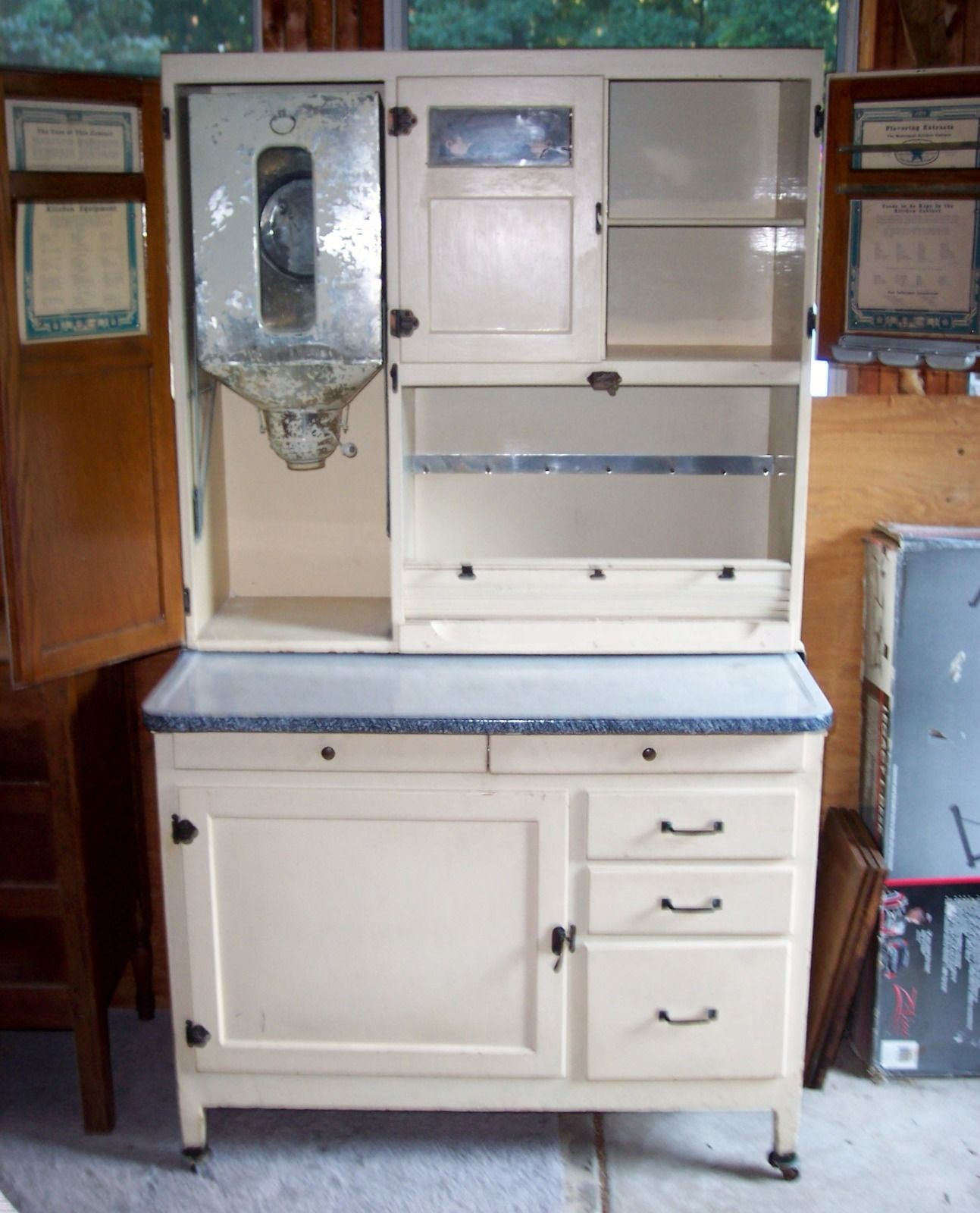 Mcdougall Hoosier Cabinet Oak Painted White Flour Sifter 71