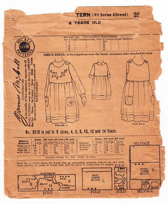 Vintage Sewing Pattern 1920s McCall 9210 Girl\'s Dress Size 4 Years ...