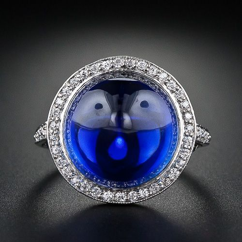 Edwardian Gem Cabochon Sapphire and Diamond Ring | Lang Antiques
