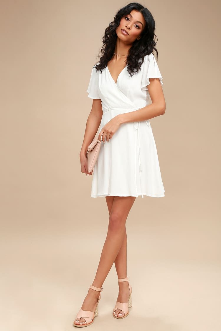 9df09d58cd07 Lulus   Harbor Point White Wrap Dress   Size Small   100% Polyester ...