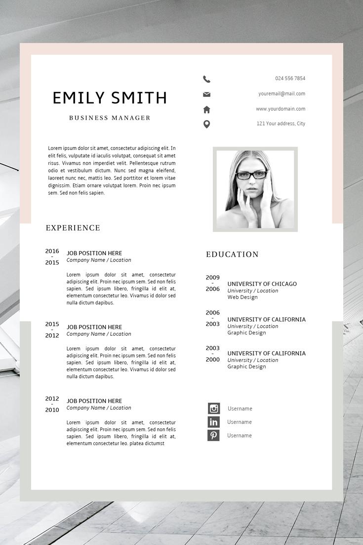 Resume Template Minimalist Easy CV Template Emily