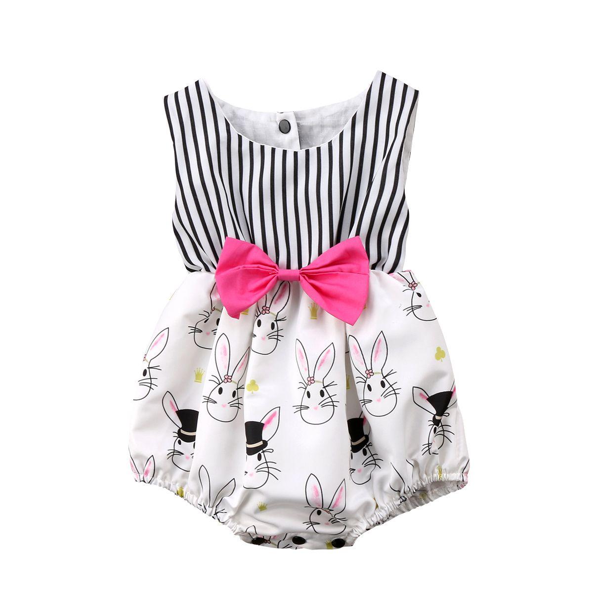 Pink dress drawing  Cute Baby Girl Cartoon Bunny Sleeveless Striped Romper Bodysuit