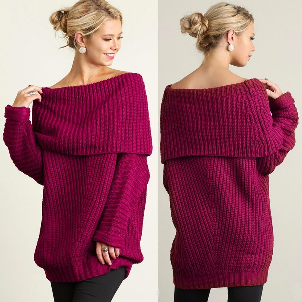 UMGEE Aspen Cozy Boho BERRY Off Shoulder Chunky Cable Knit Sweater ...