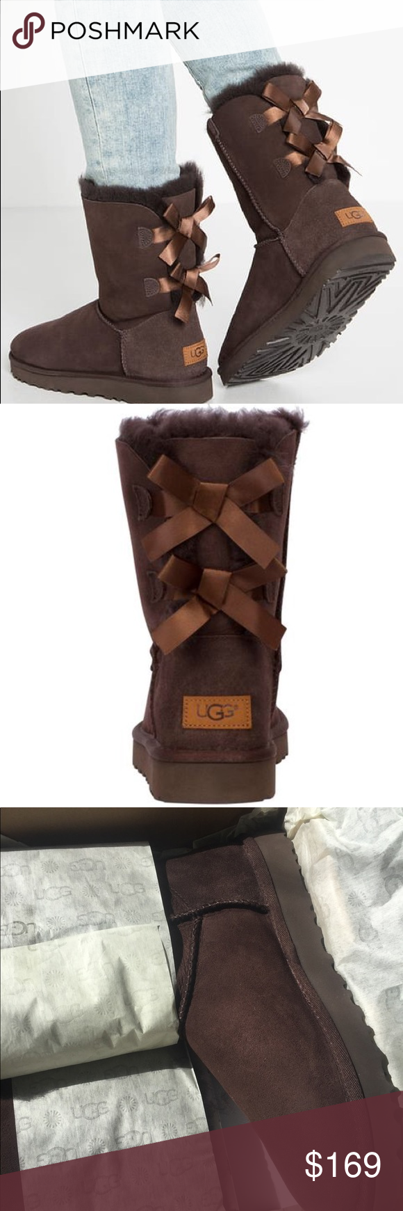 a802e3ba504 NIB UGG Womens Bailey Bow II Boots in Chocolate The Bailey Bow Boot ...