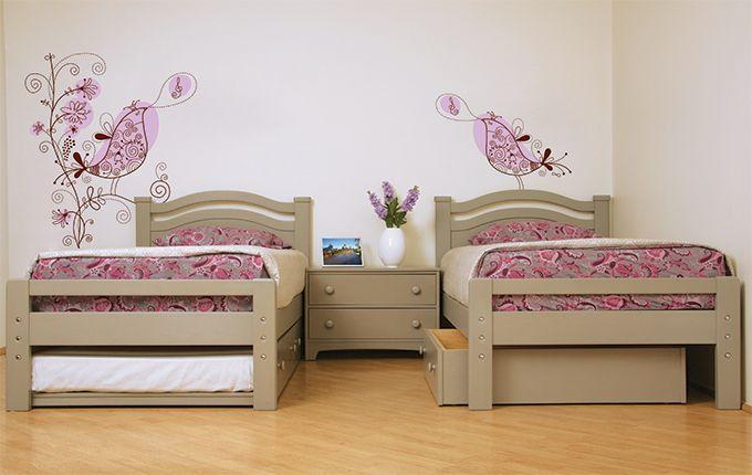 Camas individuales estero con cama ocultable charola for Camas individuales juveniles