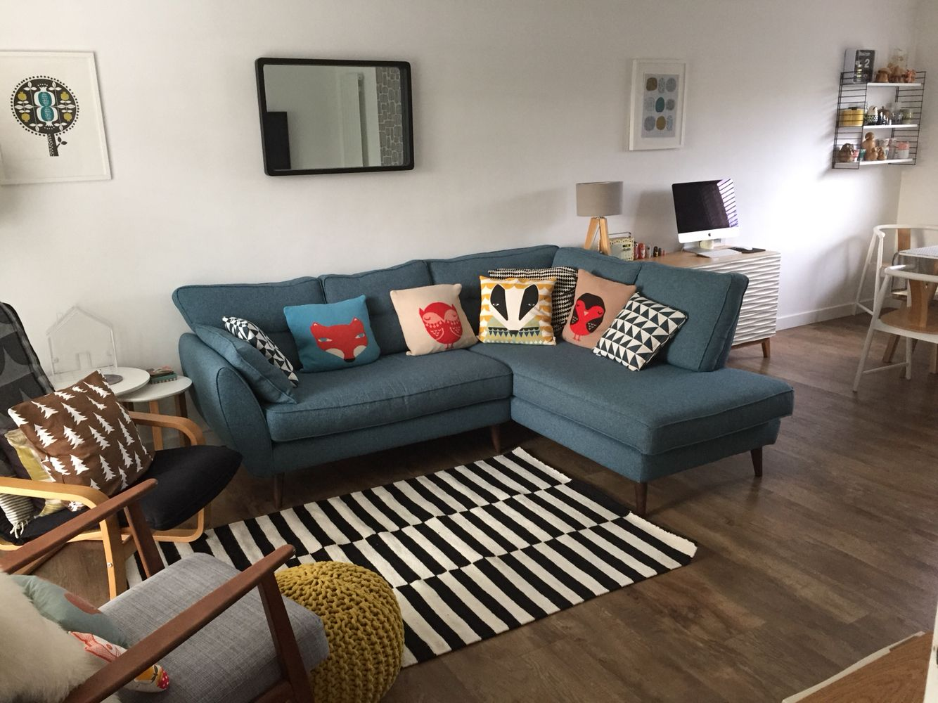 Living Room French Connection Zinc Sofa Donna Wilson Cushions Ikea Ekenaset Monochrome Rug La Redoute