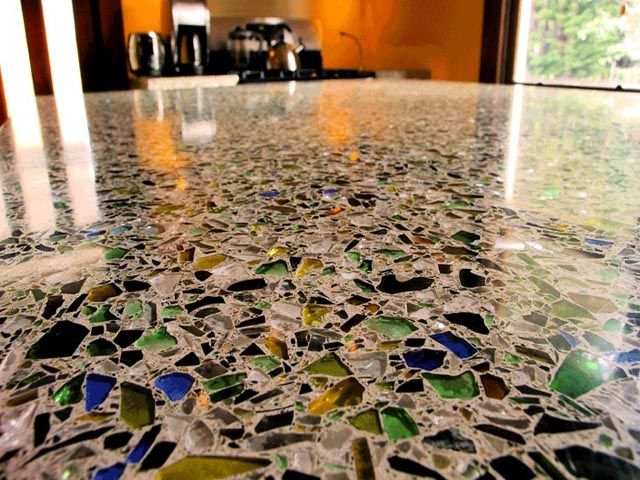counter tops and flooring made of sea glass in concrete